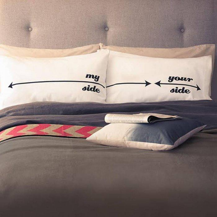 Cretive bed pillows - for him and her