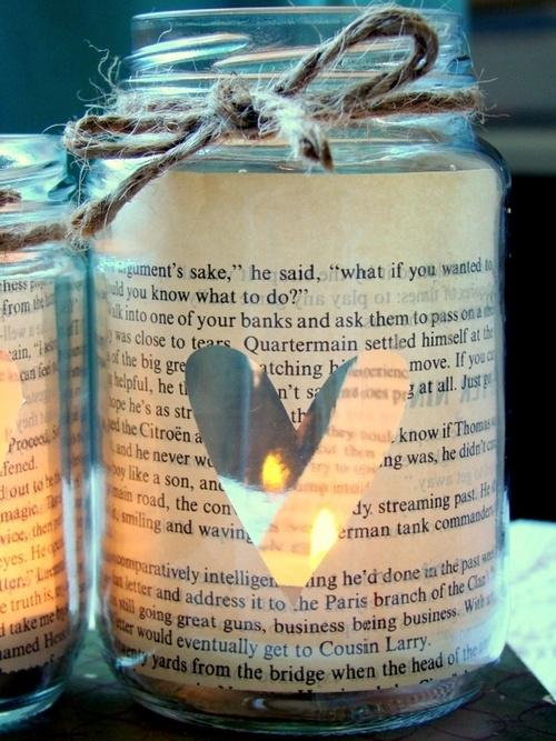 DIY Christmas jar - made of pages of an old book
