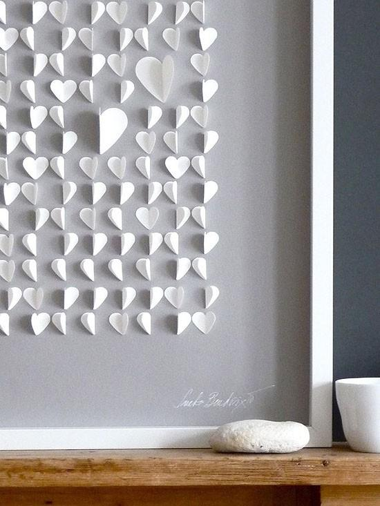 Wall Decoration With Paper Hearts : Diy room decor ideas and examples founterior