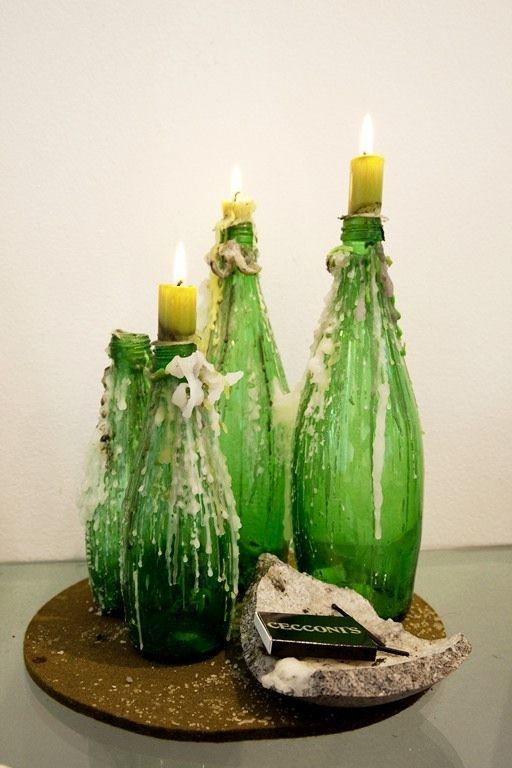 DIY Room Decor 2 - candleholders made of bottles