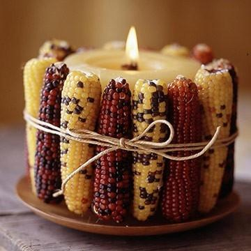DIY Room Decor 20 - candle wrapped with corn