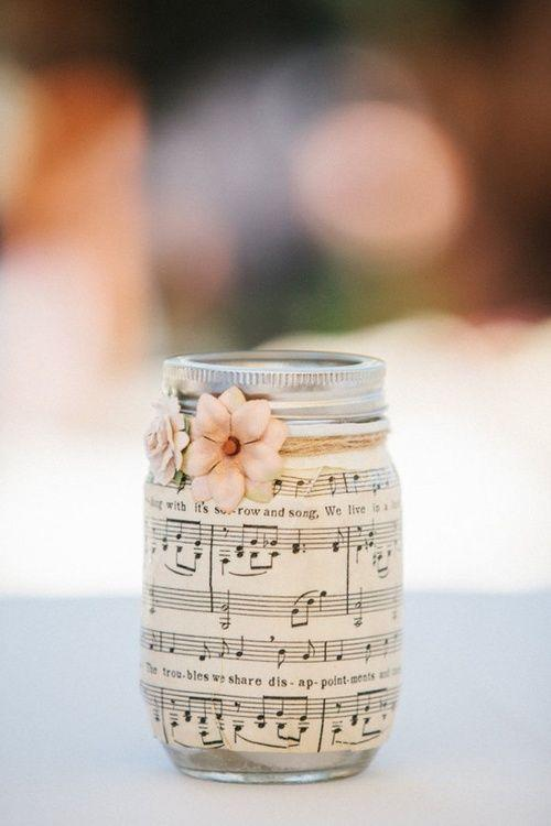 DIY mason jar 1 - wrapped with music paper