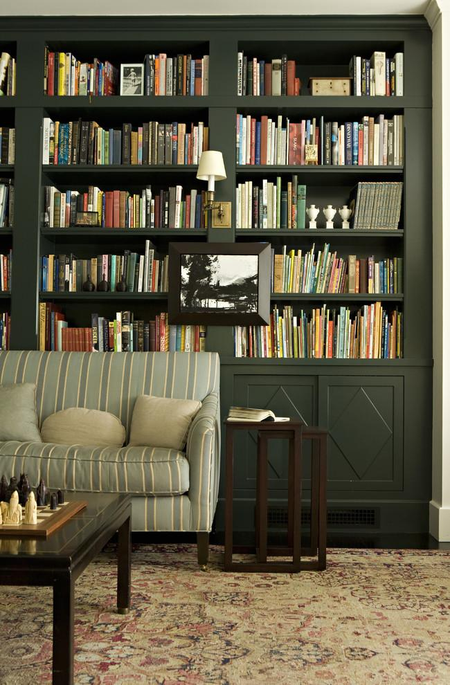 Dark grey bookcase design - in a transitional room