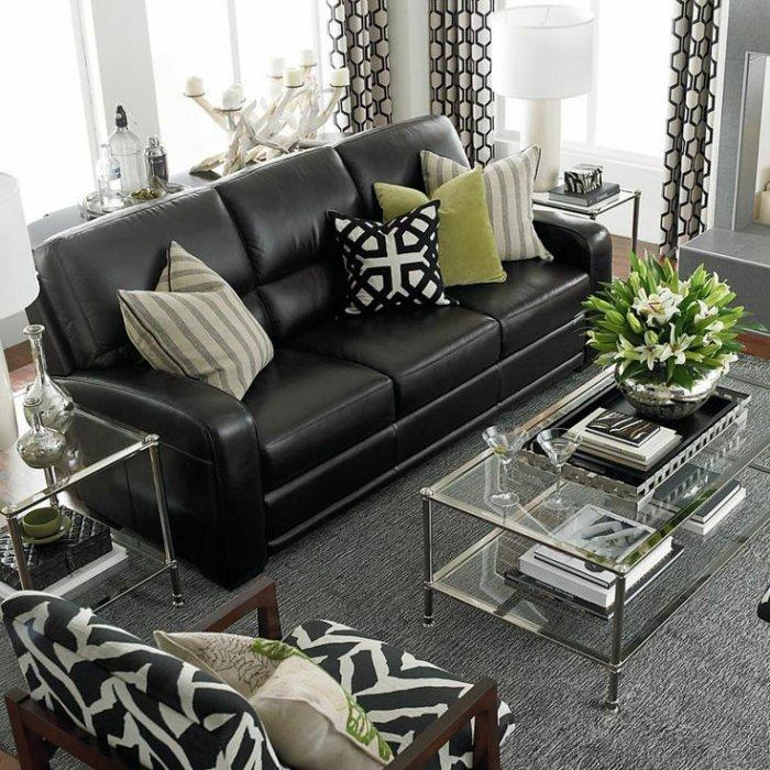 Dark white living room paint - and leather black sofa