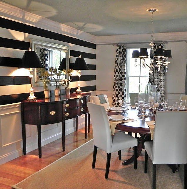 Superb Dining Room Accent Wall 11   In Black And White Stripes Part 13