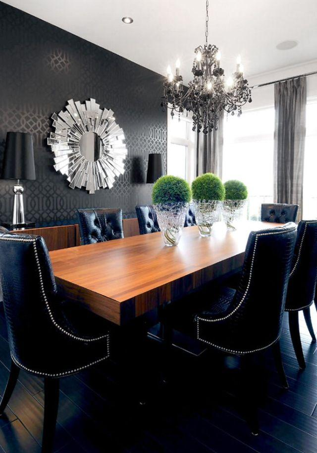dining room accent wall 3 with expensive and abstract mirror - Dining Room Table Accents