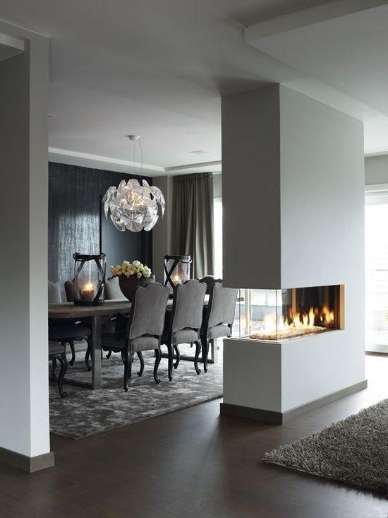 Dining Room Accent Wall 4   With Modern Bio Fireplace