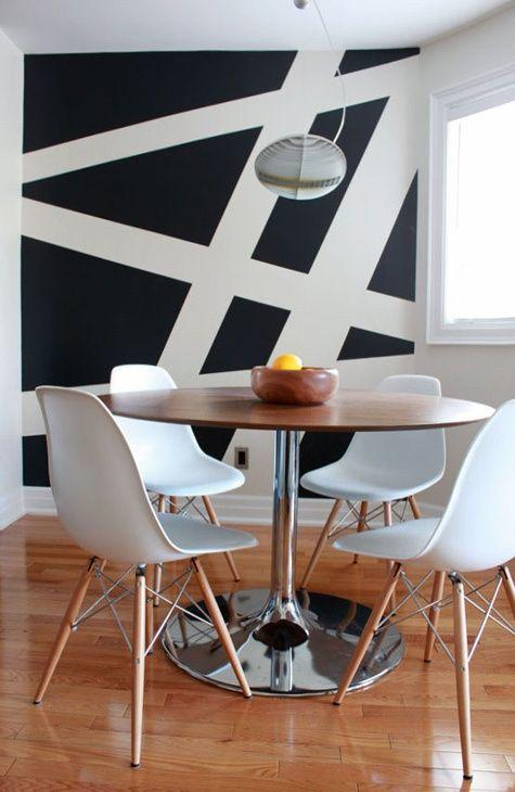 Dining room accent wall 6 - in black and white paint