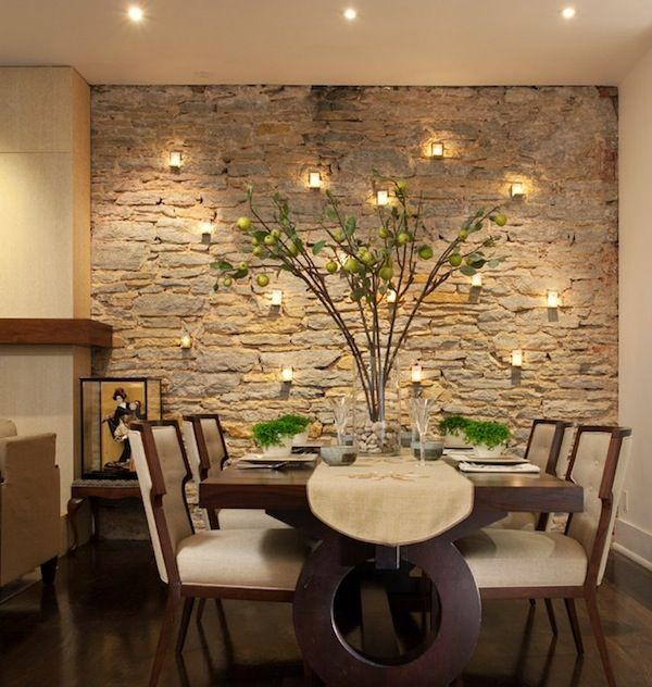 Dining room accent wall 8 with stone cladding founterior for Black dining room walls