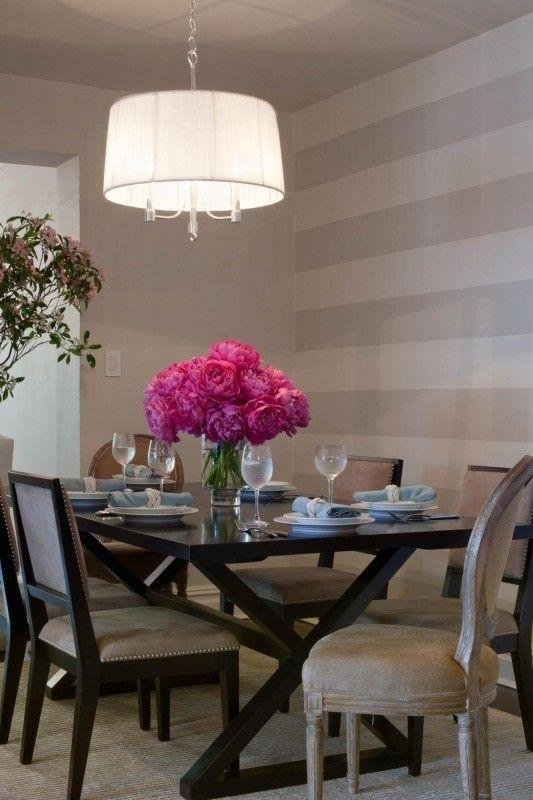 Dining room accent wall 9 - in grey and white stripes