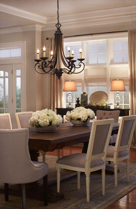 Dining room table 1 - with grey chairs