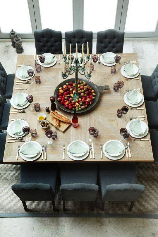 Dining room table 13 - with decorative bowl of fruits