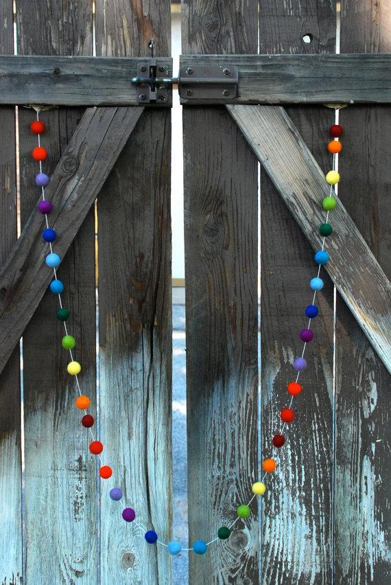 Door Christmas garland - colorful balls
