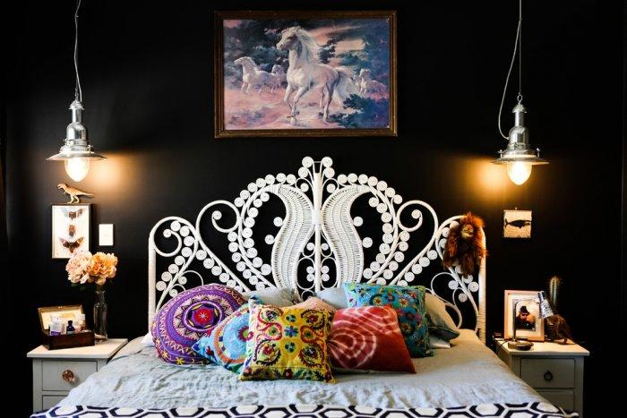 Eclectic bedroom 1 - with black walls
