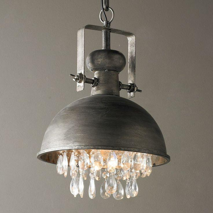 Eclectic industrial pendant - with raw shade and crystal pendants