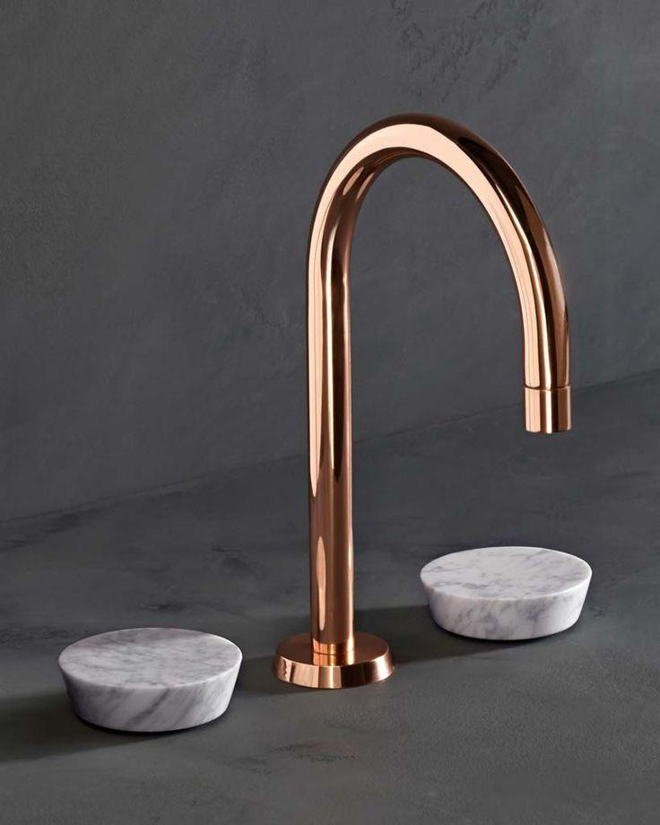 Elegant brass bathroom faucet - with marble taps