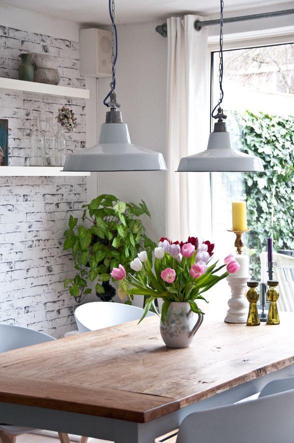 Elegant white industrial pendants - inside a loft kitchen