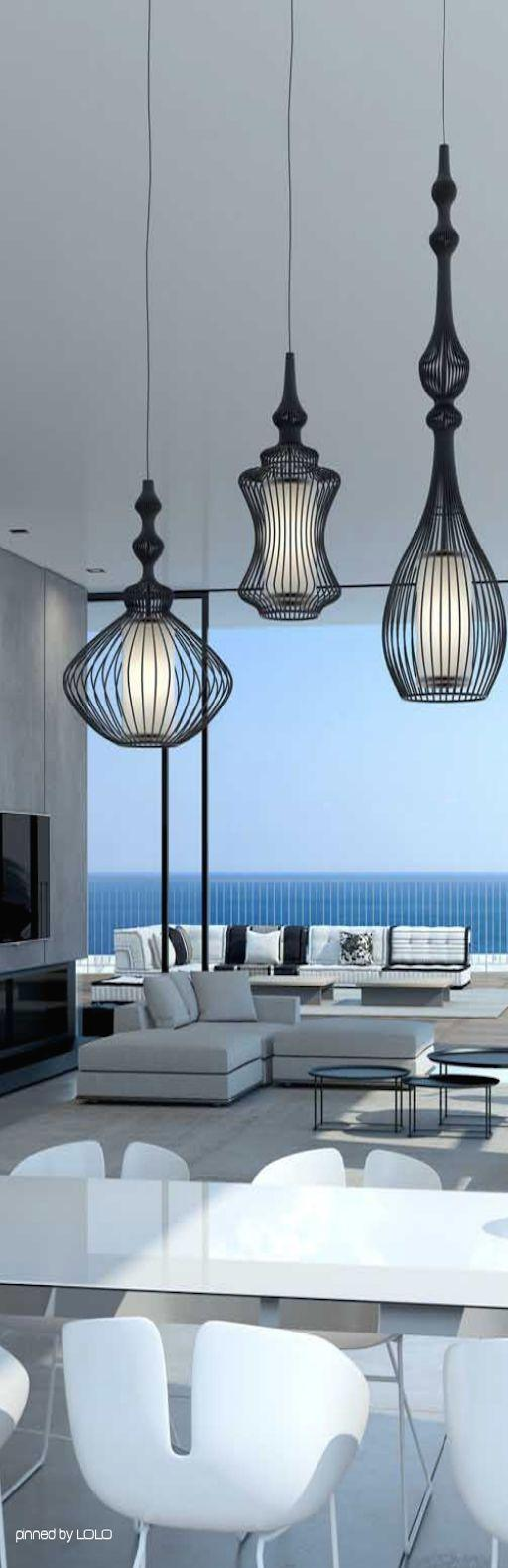 Expensive iron lamps - inside a spacious estate