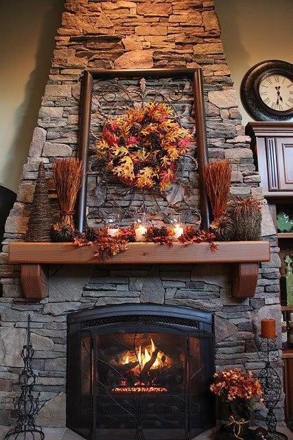 Fall fireplace decorating idea 1 - with autumn wreath and leaves
