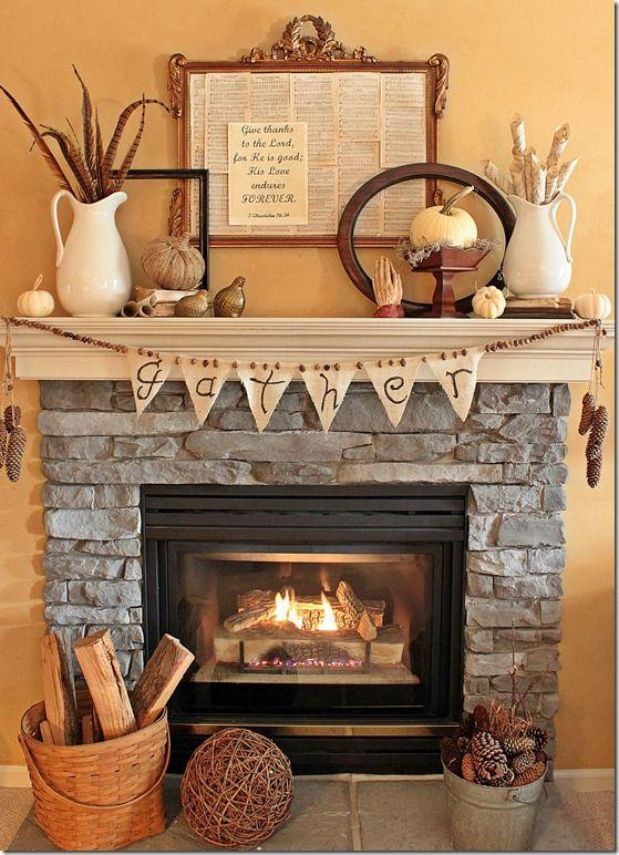 Fall fireplace decorating idea 3 - with textile garland