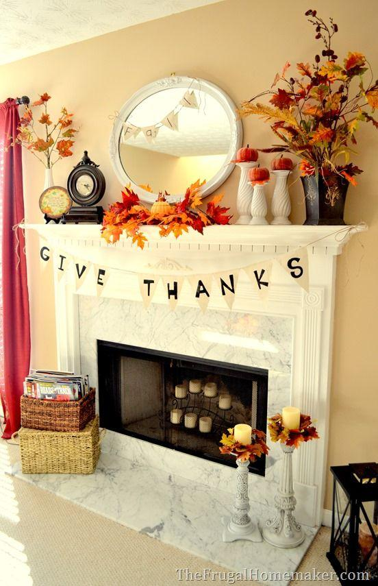 Fall fireplace decorating idea 4 - with give thanks garland