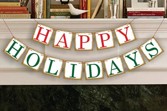 Festive Christmas garland - happy holidays