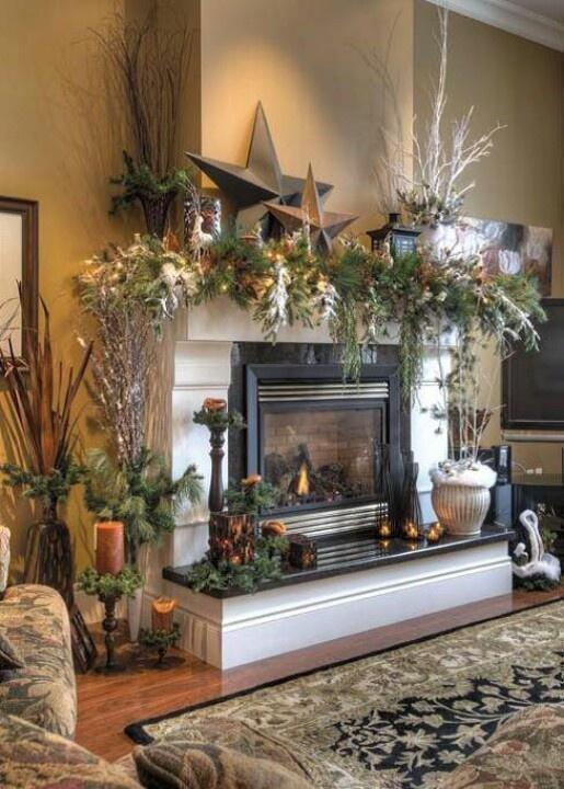 Fireplace Christmas garland 1 - with giant decorative stars