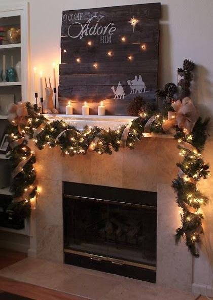 Fireplace Christmas garland 4 - with lights and candles