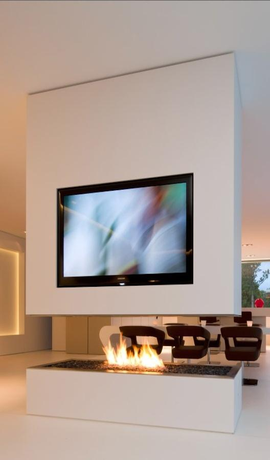 Fireplace decorating idea with TV 3 - and futuristic interior