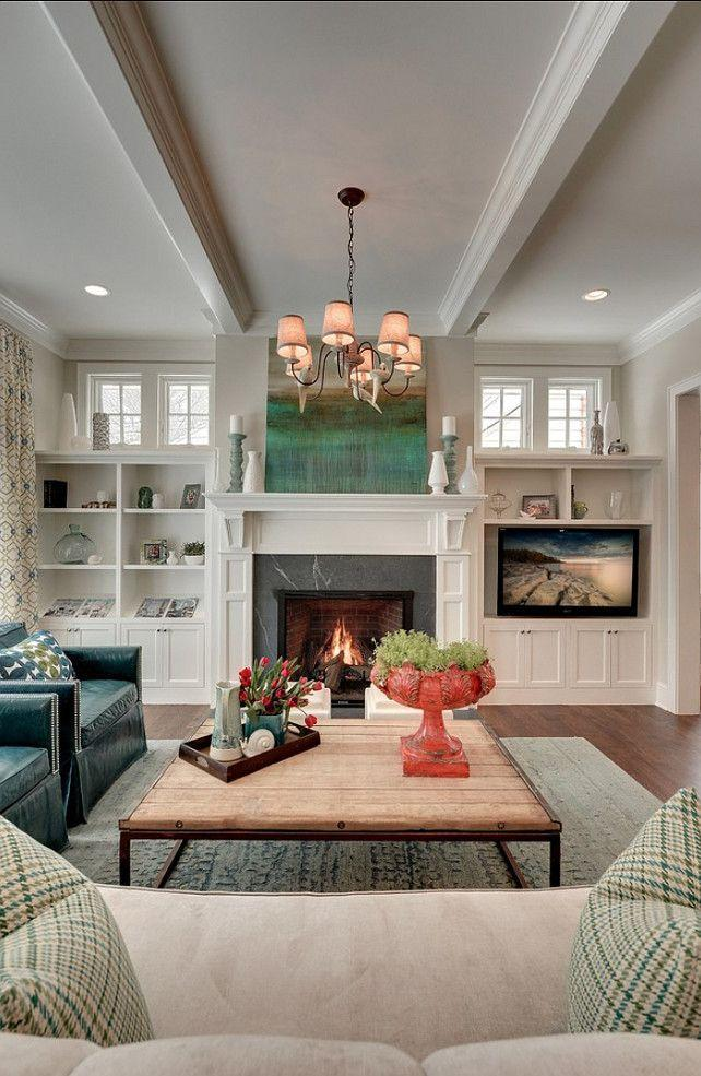 Fireplace decorating idea with TV 5 - and traditional interior