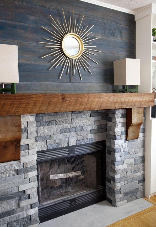 Fireplace decorating idea with mirror 2 - and stylish wooden mantel