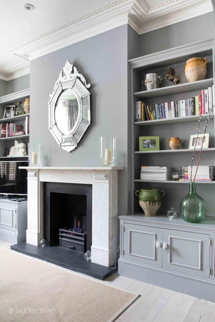 Fireplace decorating idea with mirror 3 - and grey elegant wall above