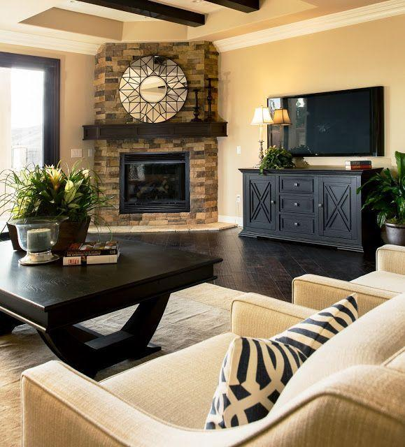 Fireplace Decorating Ideas for Mantel and Above  Founterior ~ 052309_Living Room Corner Fireplace Decorating Ideas