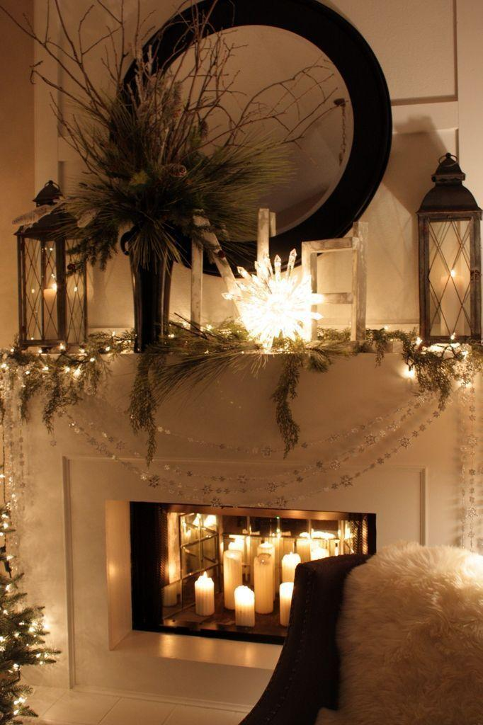 Fireplace Decorating Idea With Mirror 5 And Candles And Lanterns