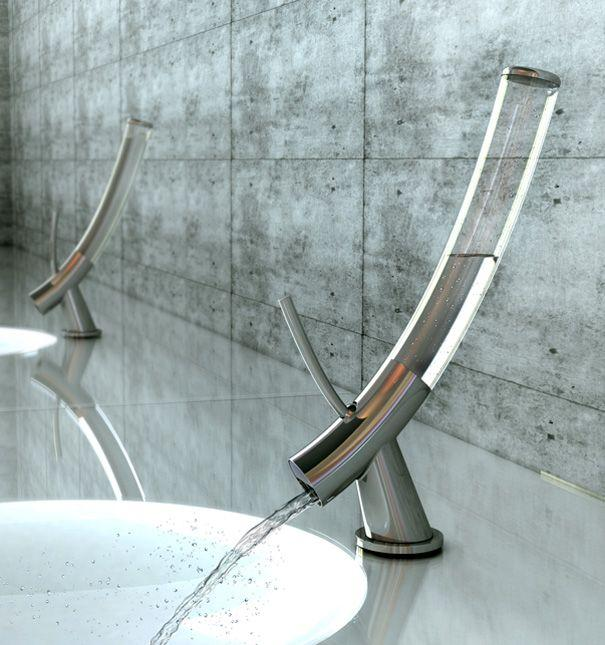 Futuristic glass bathroom faucet - with unique and innovative design