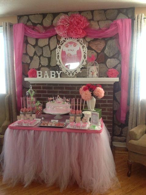 Girl baby shower 1 - decorated fireplace mantel
