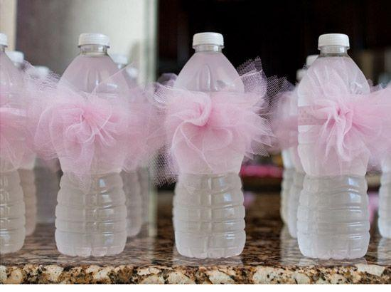 Girl baby shower 2 - water bottles with pink ribbons