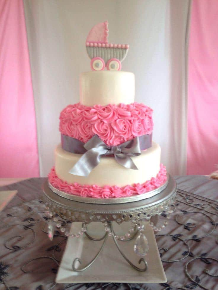 Girl baby shower 4 - pink cake with baby stroller
