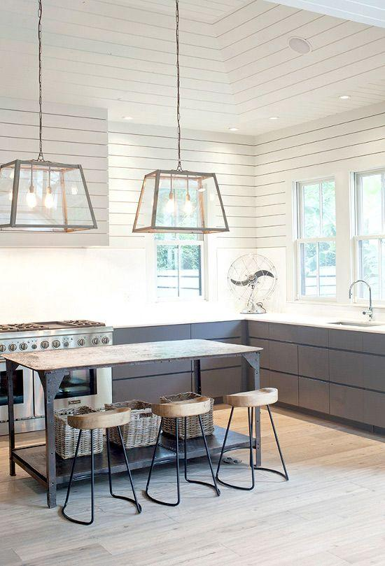 Glass modern pendant - inside a modern American kitchen