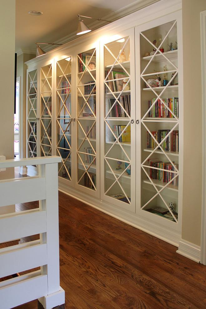 Glazed bookcase design - with interesting doors