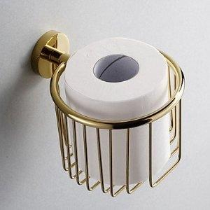 Gold toilet paper holder - with paper roll in it