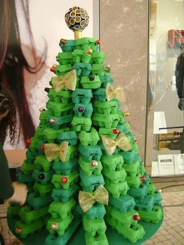 Green Christmas tree -made of egg boxes