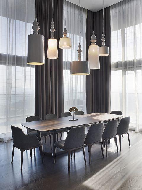 Grey and white modern pendants - an ultimate elegance set