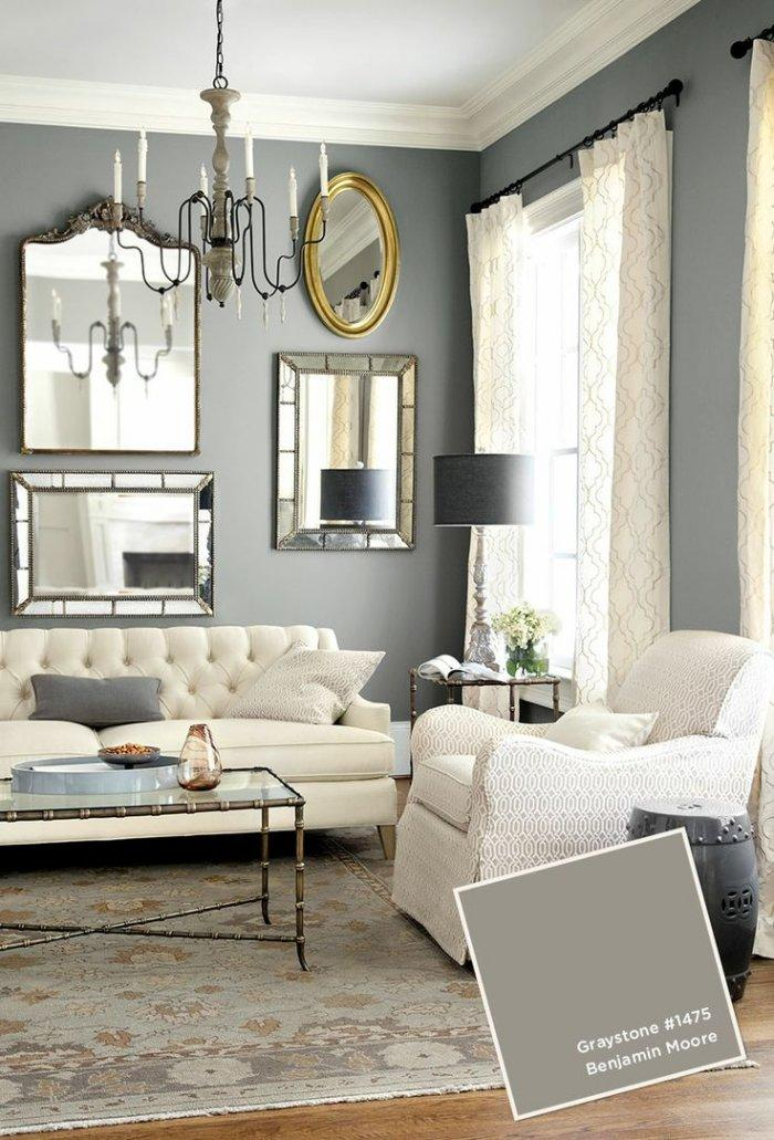 Grey living room paint - in a stylish traditional home