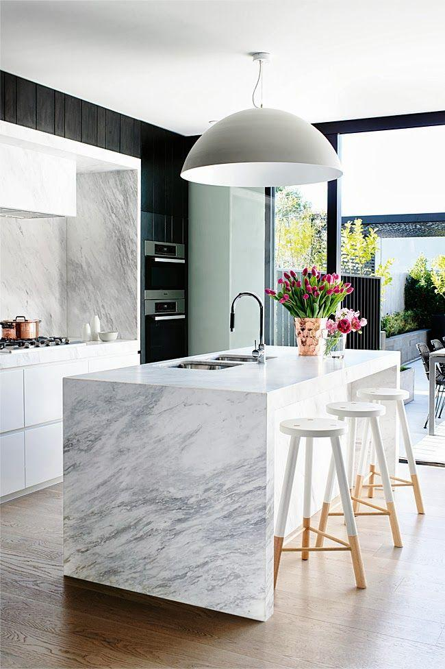 Grey round contemporary pendant - used in a kitchen