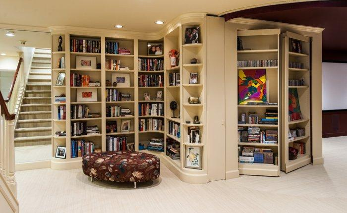 Hallway bookcase design - with several wings