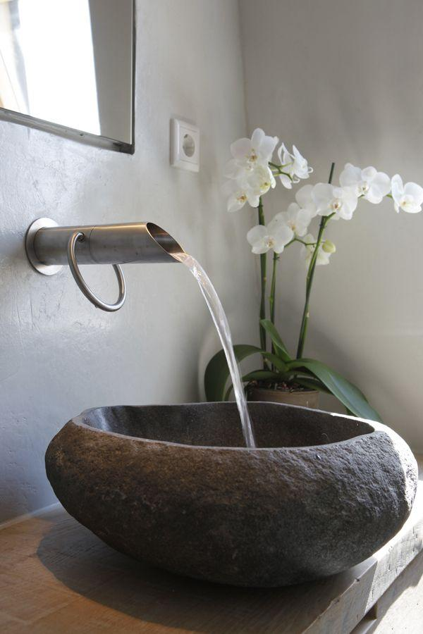 Handmade bathroom basin bowl - with stylish nickel faucet