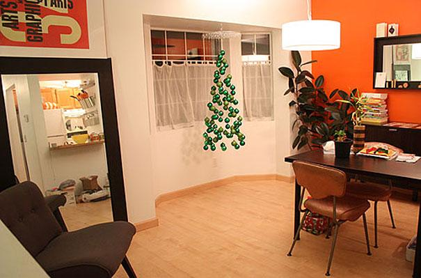 Hanging Christmas tree - made of green balls