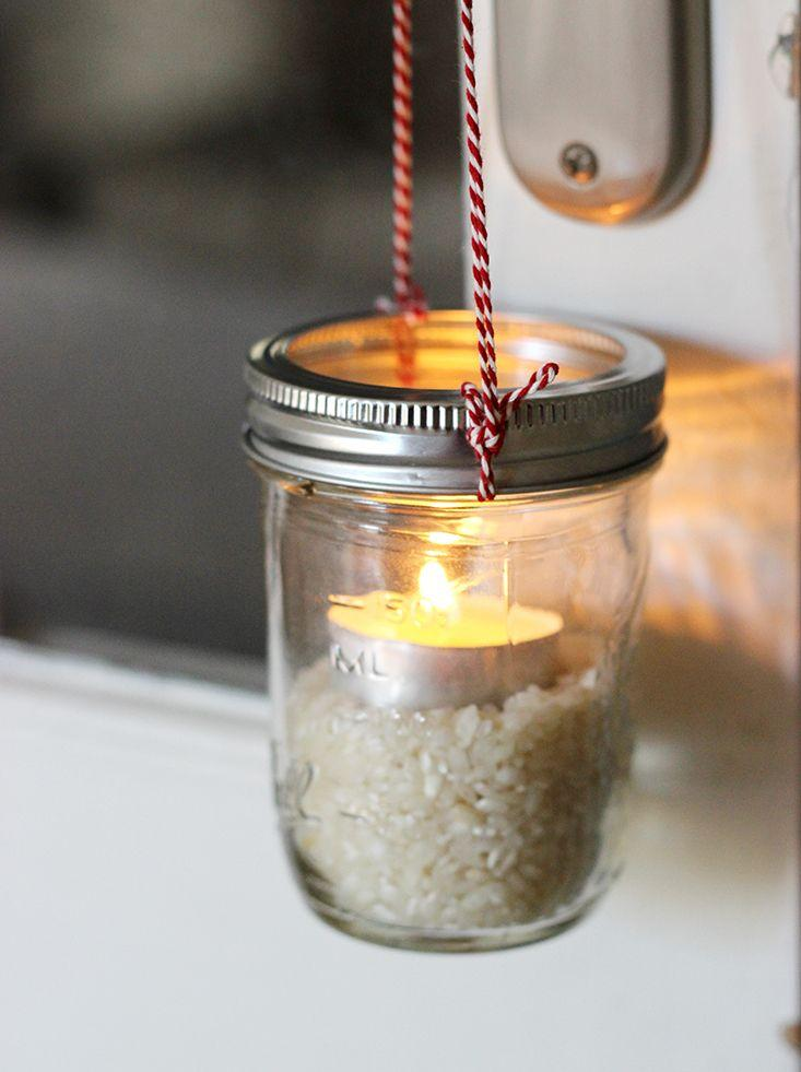 Hanging candleholder Christmas jar - with small round candle inside