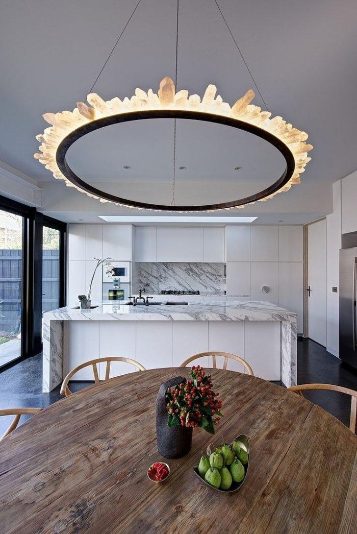 Hollow round modern pendant -- with interesting shade